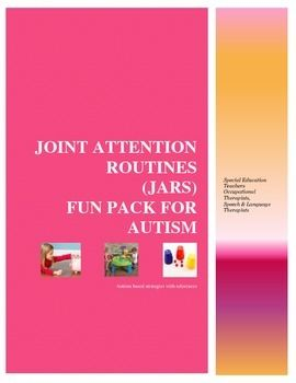 As a school based OTR, I am constantly practicing till I get it right. I learned about Joint attention routines from behavioral therapists and autism specialists. As a result I created some templates that would encourage play behavior. Shazam..... special education team members then went on to create their own activities.