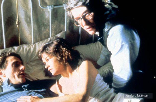 Dead Ringers - Behind the scenes photo of Jeremy Irons, Geneviève Bujold & David Cronenberg