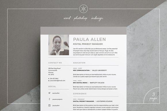 Resume/CV | Paula by Keke Resume Boutique on @Graphicsauthor