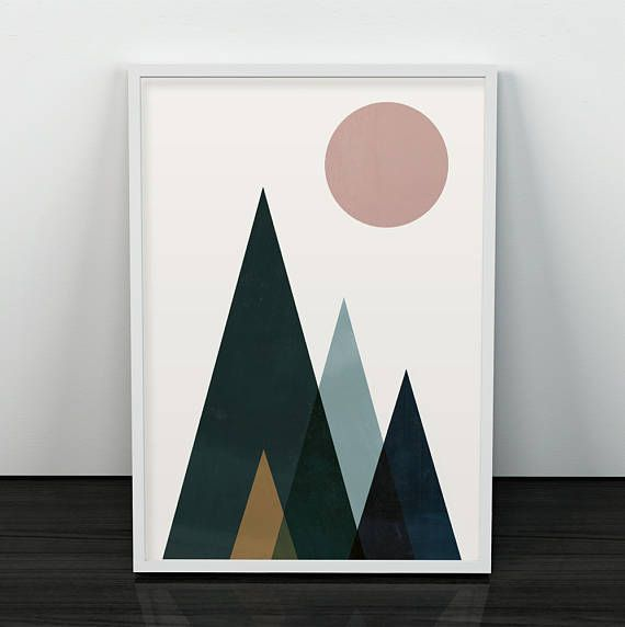 Modern wall print, large wall art, fine art print, room decor, triangle art, original art gift vintage scandinavian art abstract art prints === Modern art, perfect to decorate your home or office! Printed on 270 gsm Canson paper using premium inks. Available sizes are: A4 / 210