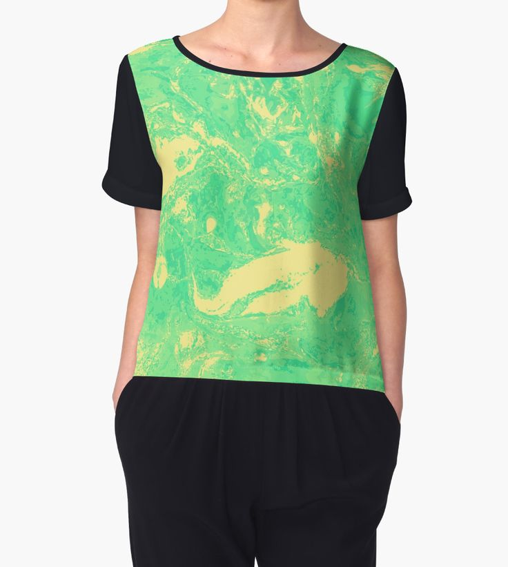 """Yellow green marble texture."" Chiffon Tops by kakapostudio 