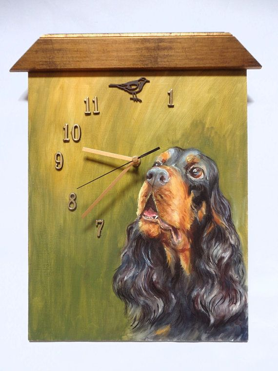 GORDON SETTER DOG Funny Wall Clock Painted clock by CanisArtStudio