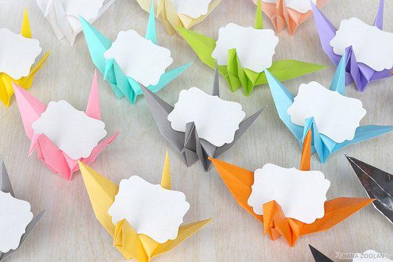 16 cartes de nom Place de grue papier Baby Shower faveurs Origami mariage réception Table pièce maîtresse anniversaire personalisés colorée arc-en-ciel en faveur