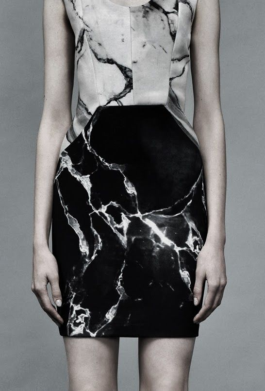 Monochromatic Marble Dress - marble printed pattern fashion // Robert Rodriguez Spring 2014
