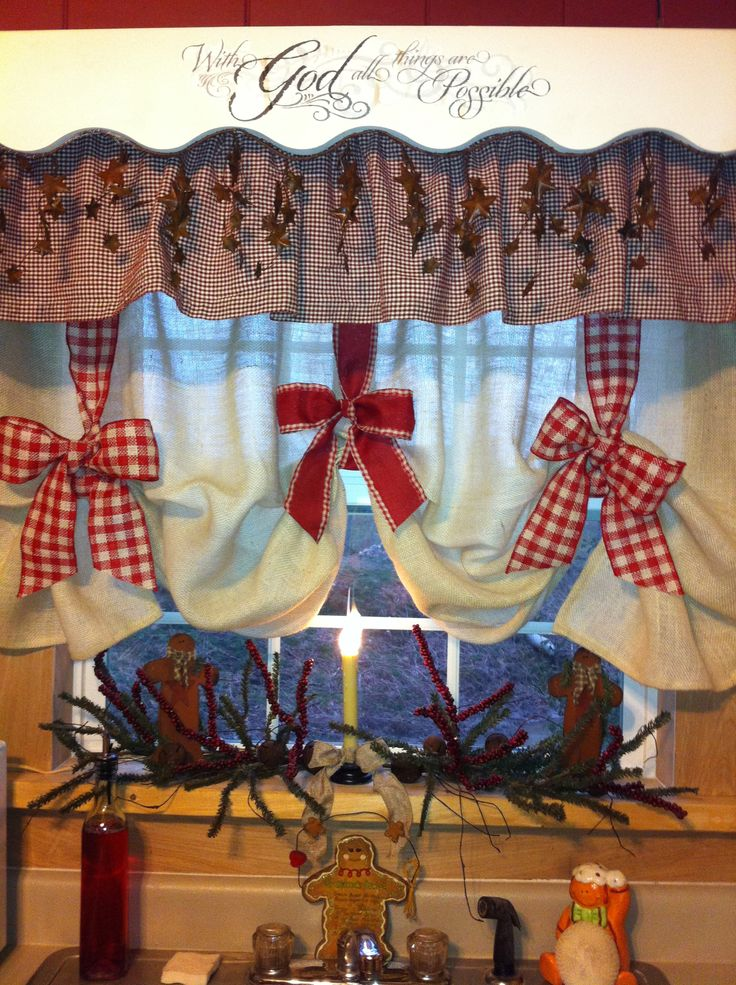 Burlap and ribbon curtains.   Cute curtain idea! Doesn't need to be a holiday thing! And it looks like an easy diy!
