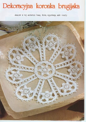 Bruges crochet lace mat with flowers