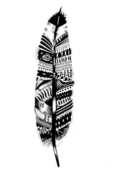 Tribal aztec Feather tattoo