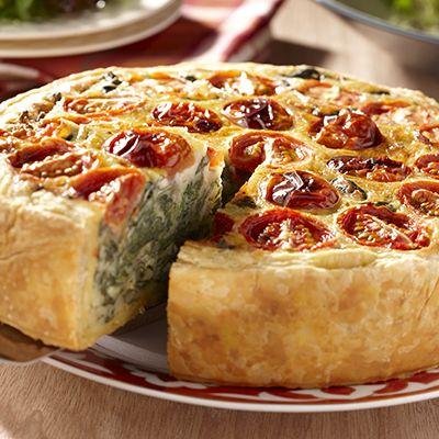 Quiche met spinazie en tomaat. Hoofdgerecht, 4 personen