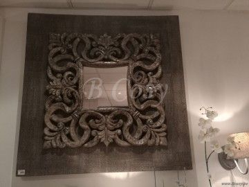 """J-Line Barokke antiek spiegel barok hout-glas grijs 110x110 <span style=""""font-size: 0.01pt;"""">Jline-by-Jolipa-58516</span>"""