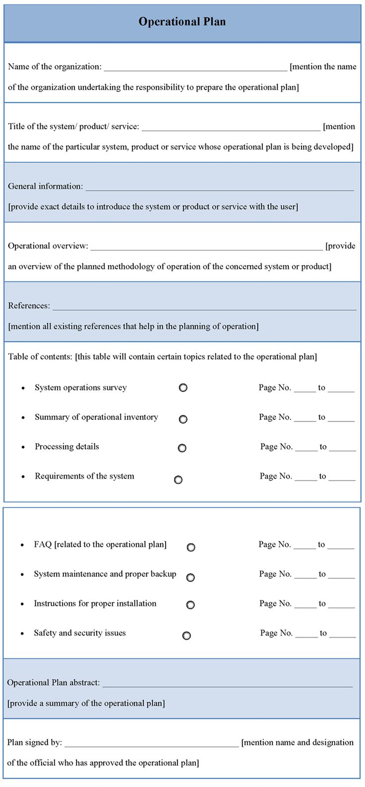 Operational Plan Template How to plan, Templates