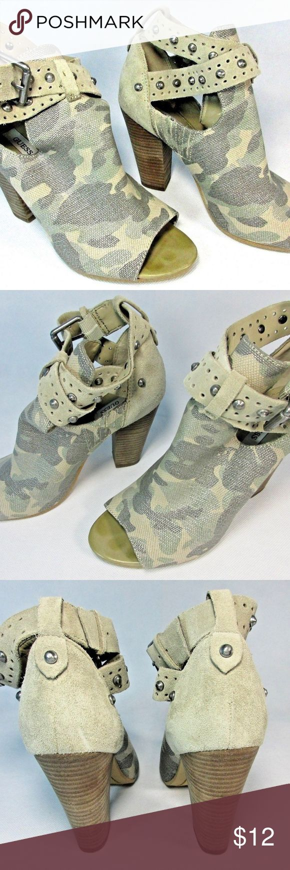 Guess Bagent Silver Studded Camo Ankle Booties 6.5 Guess Bagent Cutout Silver Studded Camo Military Ankle Booties Size 6.5 M. A stain and wearing on inside right shoe insole (pics). Otherwise in nice used condition. Guess Shoes Ankle Boots & Booties