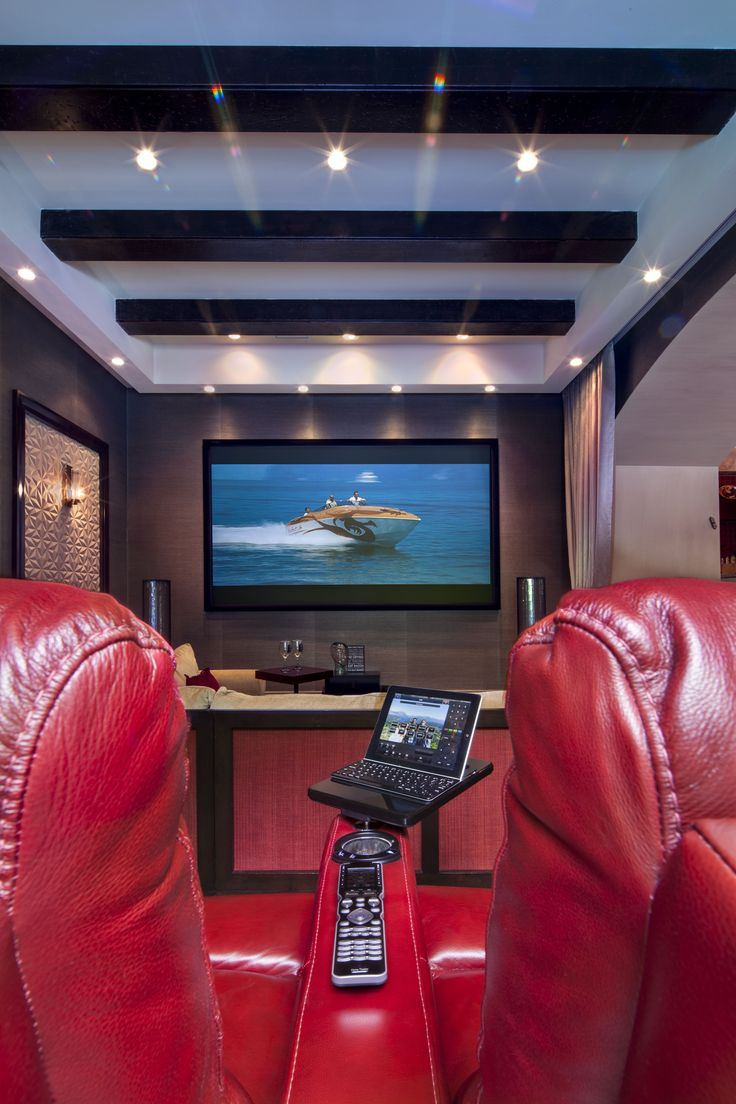Evelyne home interiors interior and exterior decoration velas - This Striking Media Room Features Technology By Miami Fl Based Aventura Home Theater Automation
