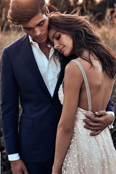 Open Back Straps Long Train A-line Lace Simple Bridal Gown Wedding Dresses, TYP1375