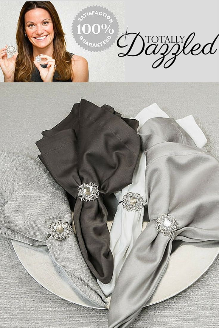 Make your table setting unforgettable at your next event! These stunning napkin rings are only $1.25 each at totallydazzled.com. Visit us online to view our entire collection of napkin rings, buckles, buttons and more!