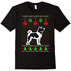 Men's Akita Dog Ugly Christmas Sweater Xmas T-SHIRT Large Black