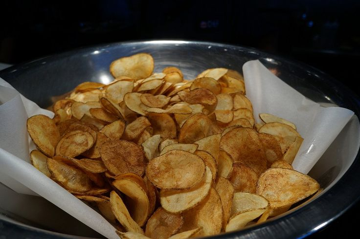 Delicious, crispy air fried potato chips. These chips can be made in any size air fryer with little to no preparation. Enjoy!
