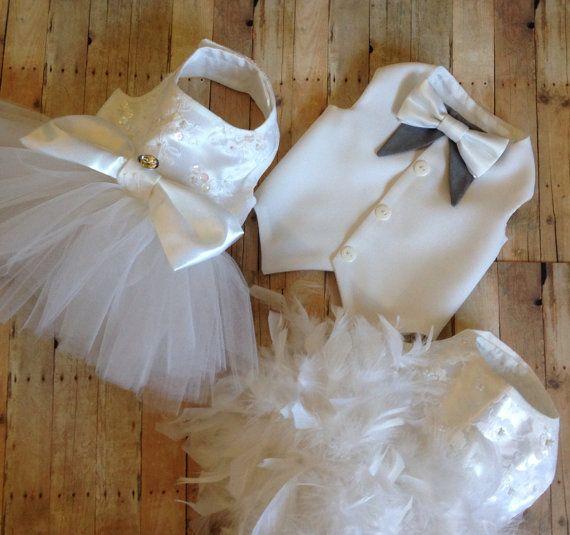 White Wedding Dog Tuxedo custom options by YvettesLittleShop