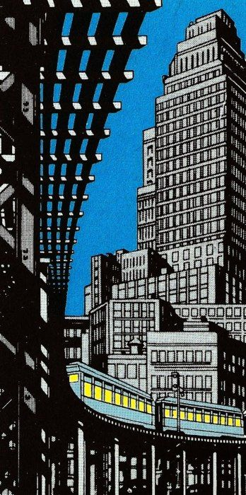 Steranko - lost panel from a comic - would make a wonderful linocut, this kind of composition with highrises and elevated railway.