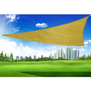 $31.89-Outsunny 16.5 Triangle Outdoor Patio Sun Shade Sail Canopy - Sand
