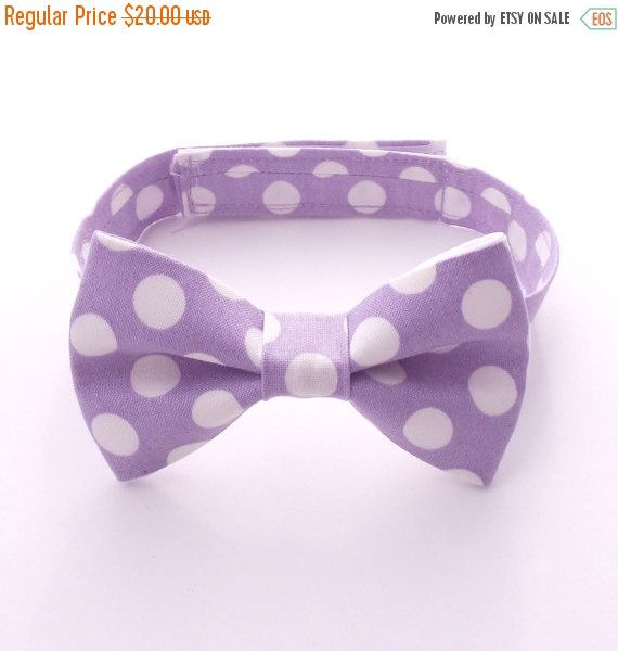 Boy's Lilac Bow Tie, Lilac Polka Dots, Light Purple, lavender, Toddler Bow Tie, Baby, Infant, Kids, Ring Bearer, Page Boy
