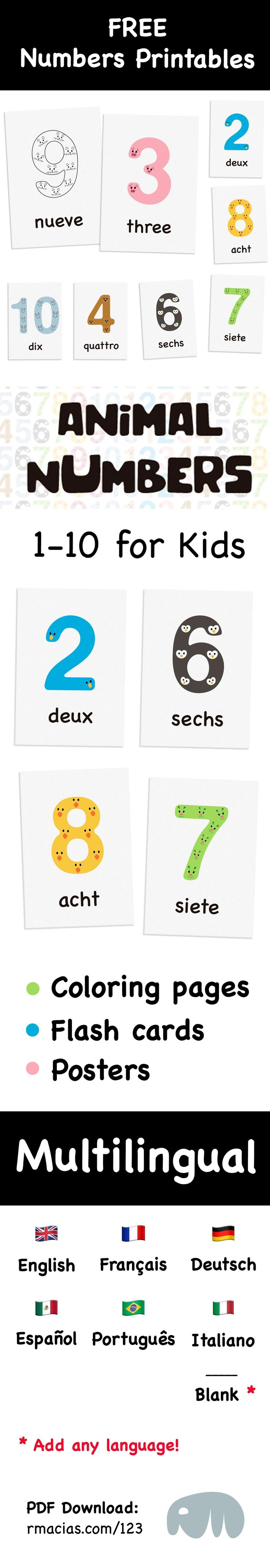 1-10 Animal Numbers for Preschool Kids (Free Multilingual Numbers Printables Bundle: Individual Posters, Flashcards and Coloring Pages) - Numbers with cute animal faces to teach counting and numbers recognition to kids in any language (or just to use as classroom décor). Since I love everything #multilingual the bundle is available in 6 different languages, as well as a Blank version (so you can add any other language):  English Spanish French German Portuguese Italian #learnitalianforkids