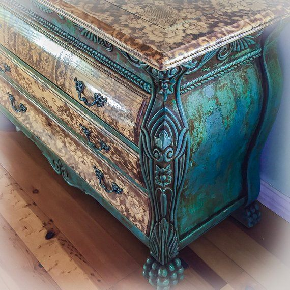 Sold Patina Rusted Dresser Distressed Green Shabby Chic French Country Large Wood
