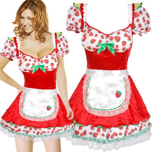 KJ428M Sexy Strawberry Shortcake Fancy Dress Maid Costume S M   eBay