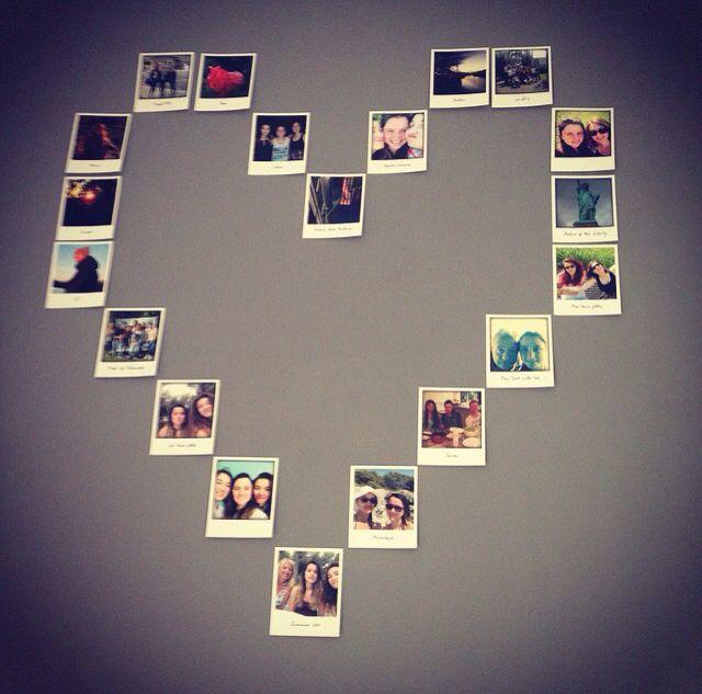 tres cœur en polaroid sur un mur deco pinterest rt11