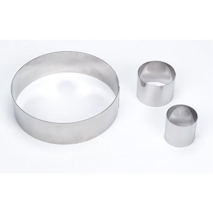 Круглая металлическая форма для тортов d-200 мм  h-100 мм из нержавеющей стали с запаянными краями используется для сборки тортов и изготовления разнообразных бисквитов. С п