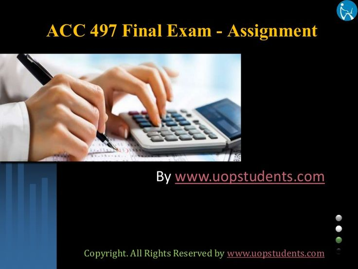 We specialize in providing you instant exam help to score the marks you have always dreamed. Get online help for the ACC 497 Final Exams 100 Questions with Answers  (University of Phoenix).
