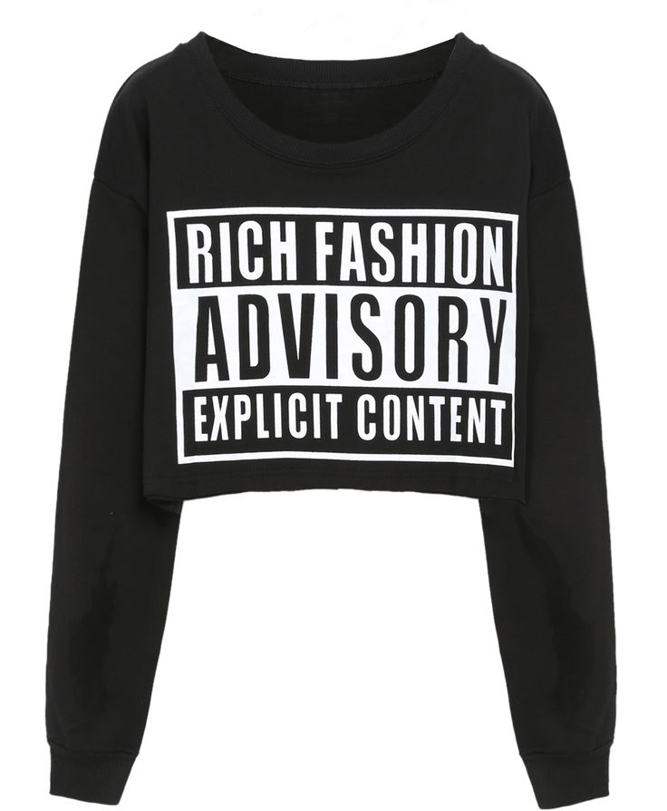 Black Round Neck ADVISORY Print Crop Sweatshirt 15.79