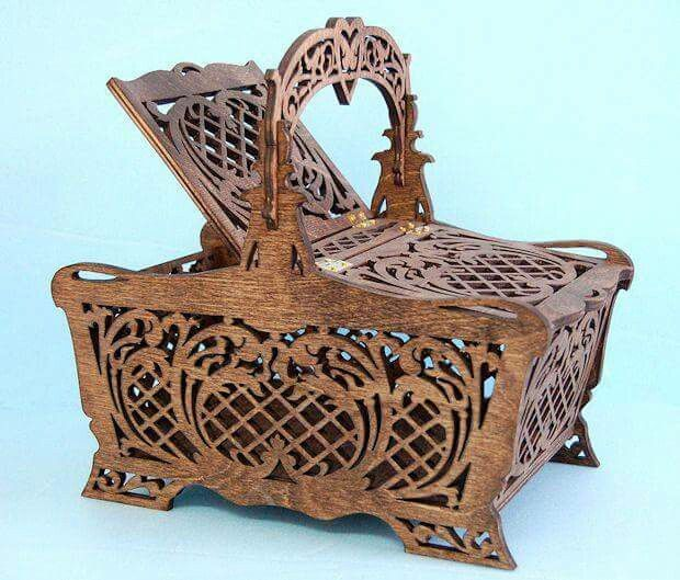 Scroll Cut-work Sewing Basket