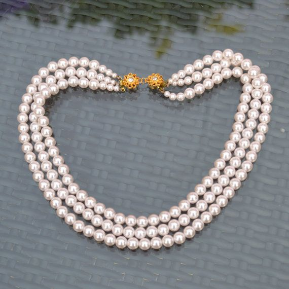 Vintage Pearls Necklace. Triple Strand Graduated Size by TeaJay