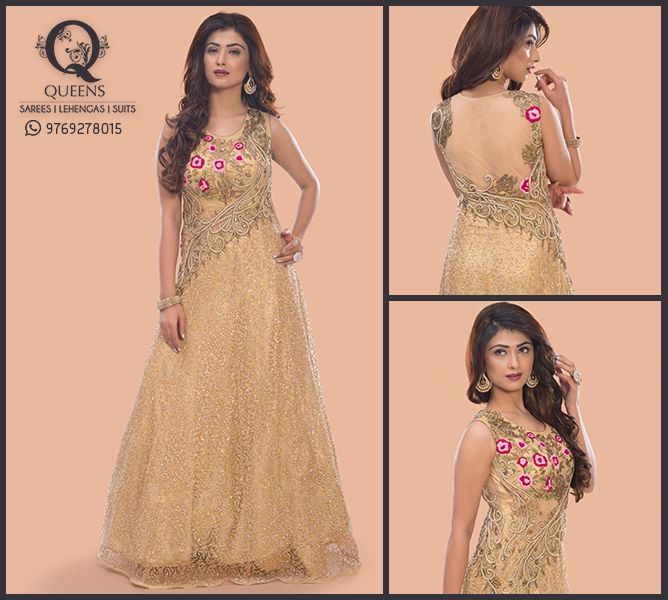 Dazzle around in this beautiful gown from Queens Emporium. Whatsapp us on 9769278015 to know more. http://bit.ly/QueensEmporium ‪#‎QueensEmporium‬ ‪#‎Gowns‬ ‪#‎Golden‬