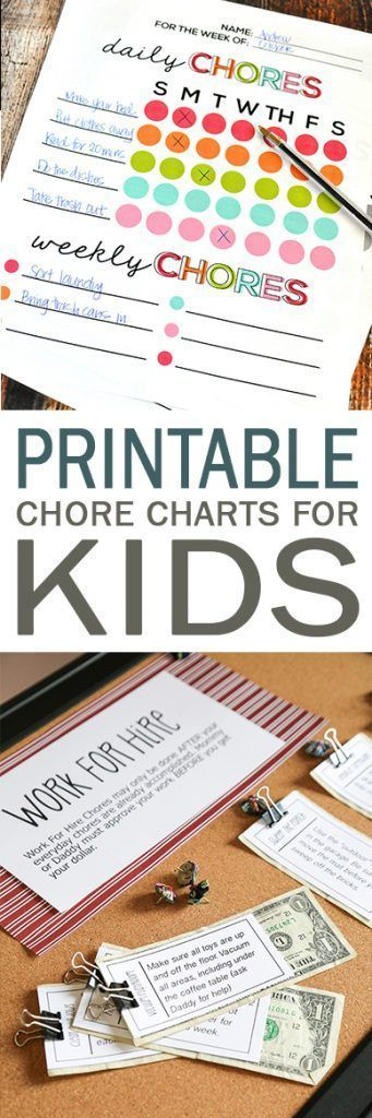 Don't miss these printable chore charts perfect for kids!  Printable Chore Charts, Chore Charts for Kids, Printables, Free Printables, Kid Stuff, Kids, Chores for Kids #Printables #PrintablesforKids