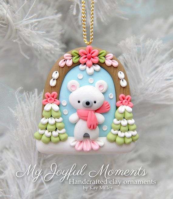 Handcrafted Polymer Clay Winter Polar Bear Scene Ornament by Kay Miller.