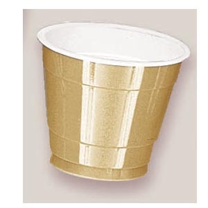 Plastic Gold Sparkle Cups. There are 20 Plastic Cups per package. These 9 ounce cups come in 22 colours to match any theme or event.