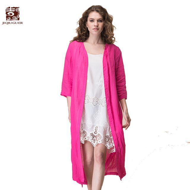 Jiqiuguer Women Solid Blouses shirts Vintage V-neck Loose Long Red Tops Plus Size Casual Ladies Summer Kimino Cardigan G172Y023