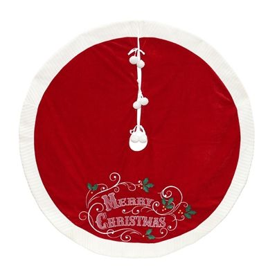 Holiday Living 48-in Red Polyester Merry Christmas Christmas Tree Skirt