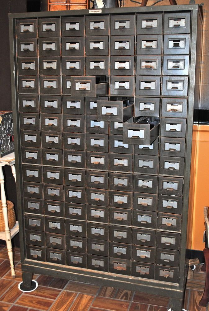 Addressograph, 98 Drawer Metal Cabinet | Industrial Furniture ...