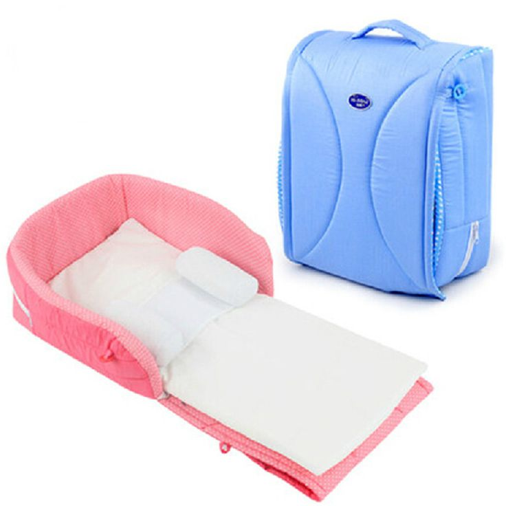 100% Cotton Newborn Cradles Crib infant Safety Portable Foldable Bed Color Blue and Pink 0 to 6 Months Bed Total Length 91cm