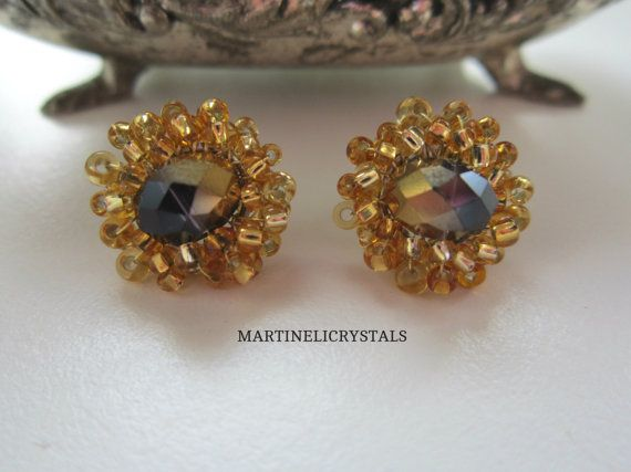 Gold Color Stud Gold Beaded Studs Swarovski by MARTINELICRYSTALS