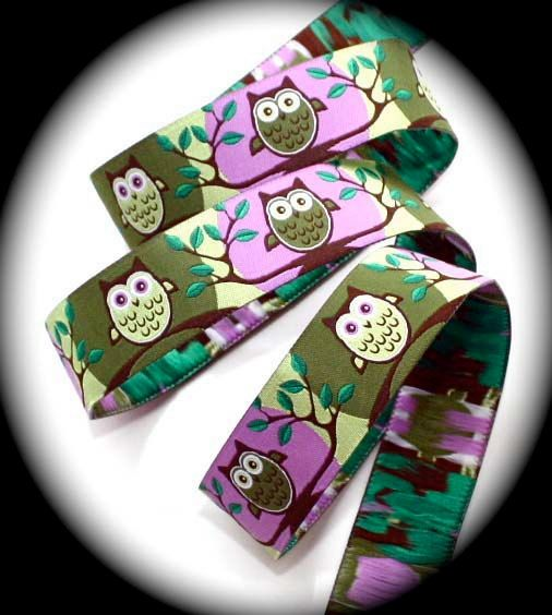 """Owl Woven Jacquard Ribbon 5/8"""" x 3 yds - What a Hoot in Orchid, Olive, Lime, Brown. $6.50, via Etsy."""