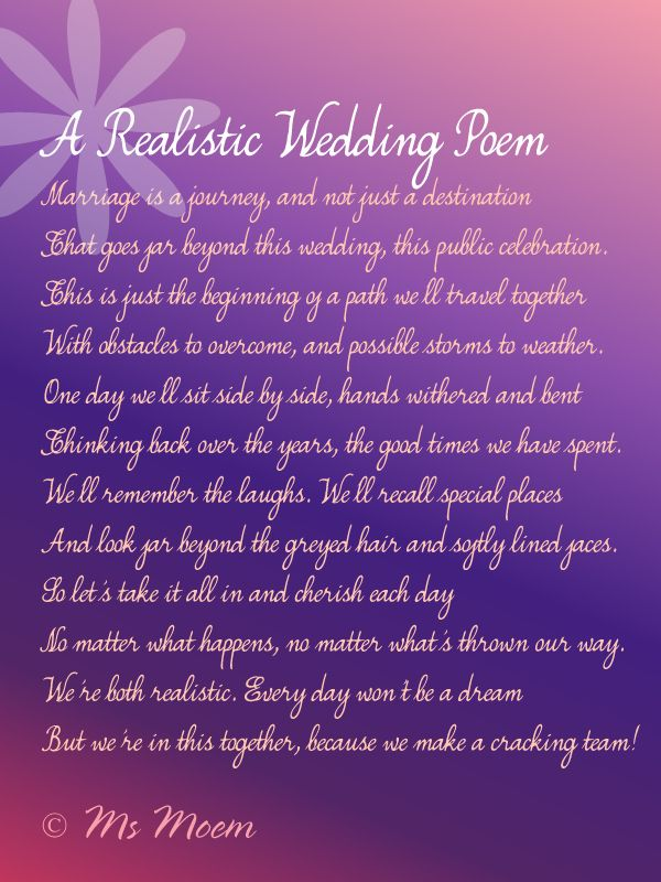 non cheesy wedding poem ~ realistic wedding poem by Ms Moem  @msmoem