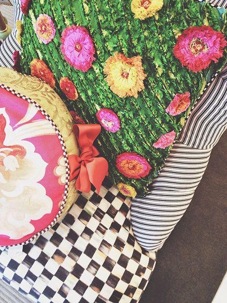 Mackenzie Childs Flower Pillows | Digginu0027 The Astroturf Pillow With Fake  Flowers. Mackenzie