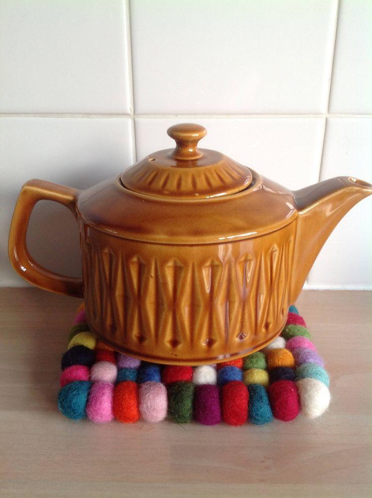 Tea pot Sadler England design honey mid century 70s Hippie hippy midcentury boho jungle Beatnic pottery 70s kitchenailia by ReworkedHomewares on Etsy