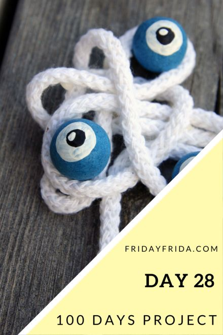 "Day 28: Quote 44: ""She had eyes so blue they looked like weather."" Tom Petty and the HeartbreakersMaterials: Cotton string, concrete marbles, acrylic paint and wood glue Find all my day…"
