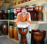 Michel Moperc, founder of Moperc Percussion.  His djembes, bongos, congas, batas and sabar drums are magnificent.  Always in stock at Soul Drums Ltd!