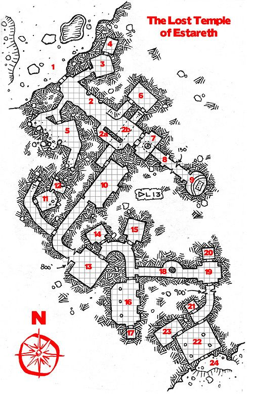 The Lost Temple of Estareth w/ PDF download map cartography | Create your own roleplaying game material w/ RPG Bard: www.rpgbard.com | Writing inspiration for Dungeons and Dragons DND D&D Pathfinder PFRPG Warhammer 40k Star Wars Shadowrun Call of Cthulhu Lord of the Rings LoTR + d20 fantasy science fiction scifi horror design | Not Trusty Sword art: click artwork for source