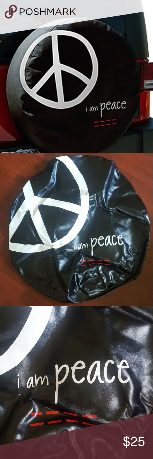 """Peace Love World Black Tire Cover W/ GIFT Peace Love World """"I am Peace"""" Black Tire Cover 29"""".   Size M fits 29"""" tires: Jeep Liberty, may fit the Honda CR-V.                               W/GIFT: 3 Bracelets PLW or 1 PLW sticker of your choice Peace Love World Accessories"""